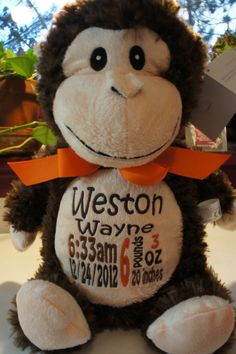 "Personalized Baby Gift, ""Baby Cubby"" Huggles the Monkey, a plush stuffed animal keepsake with machine embroidered birth information"