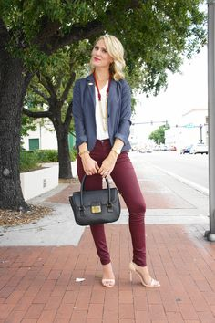 Jennifer Rand of Belle de Couture in an American Eagle blazer, James Jeans skinnies, Merci-Fortune bag, Zara heels, Alternative Apparel tee, and DERNG necklace