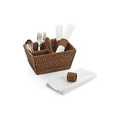 Artesia Rattan Flatware Caddy - Crate & Barrell