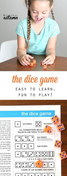 The dice game is fun and easy to play for kids and adults. It's a great way to keep the kids busy over the summer. Free printable and video instructions. Good for working on arches of the palm. Dice Games, Activity Games, Math Games, Fun Games, Activities For Kids, Therapy Activities, Articulation Activities, Puzzle Games, Camping Activities