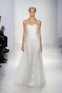 Christos Fall 2015 lace tulle strapless A-line wedding dress