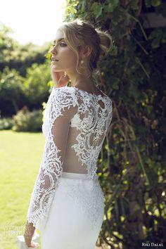 riki dalal 2015 provence illusion long sleeve wedding dress 1505 back view close up