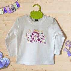 Camiseta  100% algodón manga larga  broches por IlustracionAnabella