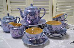 #pickingparadise #etsy #blue Vintage Lusterware Tea Set Blue Peach Cherry Blossoms Red Letter Japan PanchosPorch