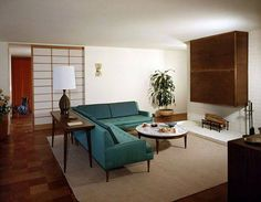 The open plan was one of the most revolutionary features in MCM homes. Click on pic to read more. In the pic: the Thompson House, architect Edward Durell, 1958,