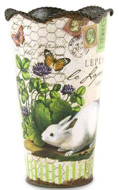 Michel Design Works Flower Tin, Medium, Bunnies