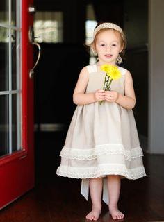 Linen Knot Dress for Girls Rustic Flower Girl by HappyLittleDress, $51.00