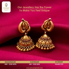 Embrace a classic gloss with this stunning earring! Gold Jhumka Earrings, Gold Bridal Earrings, Gold Earrings Designs, Gold Temple Jewellery, Jewelry Bracelets, Silver Jewelry, Bangles, Jewelry Shop, Jewelry Stores