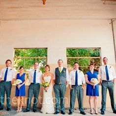 Blue Bridesmaid Dresses and Men in Blue Ties