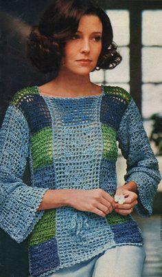 Filet Crochet Pattern Womens Crochet Top by VintageNeedleArts Top de ganchillo para mujer Filet Crochet Pattern por VintageNeedleArts Black Crochet Dress, Crochet Bodycon Dresses, Crochet Blouse, Filet Crochet, Knit Crochet, Crochet Tops, Crochet Designs, Crochet Patterns, Moda Crochet