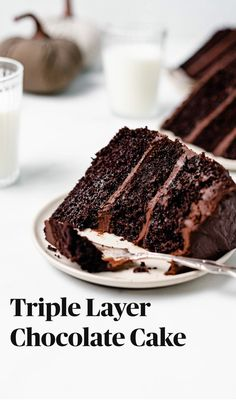 This BEST Triple Layer Chocolate Cake with Ganache recipe is a chocolate lovers dream come true! Its made in one-bowl (no mixer required!) and is delicious rich moist and perfect for special occasions! Top it with meringue ghosts for Halloween treat! Triple Layer Chocolate Cake, Perfect Chocolate Cake, Chocolate Desserts, Cake Chocolate, Chocolate Lovers, Easy Chocolate Cake Recipe, Just Desserts, Delicious Desserts, Yummy Food