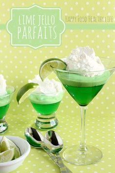 Lime Jello Parfait // Happy Food Healthy Life Cooking with my Kid #Jello #recipe #dessert
