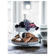 IKEA - GARNERA, Serving stand, two tiers, The serving stand is a festive way to serve for example pastries, cheese or fruit. Ikea Kitchen Organization, Pot Lid Organization, Lid Organizer, Ikea Portugal, Make Your Own Labels, Spice Jar Labels, Standing Shelves, Recycling Facility, Kitchens