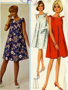Vintage 60s Butterick 4407 CUT Misses Maternity Tent Dress with Shoulder Ties Sewing Pattern Size 14 Bust 34
