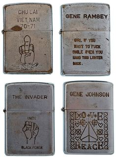 Zippo lighters engraved by soldiers in the Vietnam war