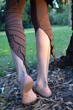SALE  Textured Leafy Leggings  Brown  Now 20 OFF by LeafyCreations, $44.00