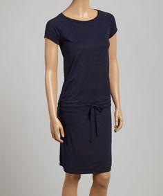 Look at this #zulilyfind! French Navy Drawstring Cap-Sleeve Dress #zulilyfinds