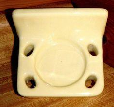 Vintage Yellow Ceramic Wall Mount 1950's Porcelain Tumbler Toothbrush Holder