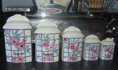 Série 5 pots à épices décor fleurs / Déco cuisine Art populaire / DITMAR URBACH
