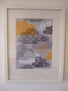 """""""I Love Clouds"""" - Giclee Print for Gray and Yellow Nursery Decor"""