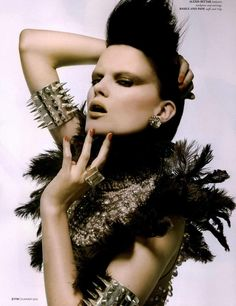 The Look: feathered warrior Rock And Roll Fashion, Studs And Spikes, Fashion Photography Inspiration, Beauty Shots, Beautiful Mask, Designer Lingerie, Strike A Pose, Types Of Fashion Styles, Heavy Metal