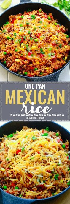 One Pan Mexican Rice Skillet makes the perfect easy 30 minute weeknight meal! Best of all, so simple to customize and everything cooks all in ONE pot - even the rice! Leftovers would be so delicious for school lunchboxes or work lunch bowls and you can even use this recipe for Sunday meal prep! #mexicanfoodrecipes