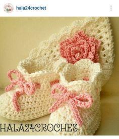 Instagram @hala24crochet - baby girl's crochet beanie & booties