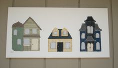 3 Houses #1 Fabric Wall Art by CottonwoodCove on Etsy