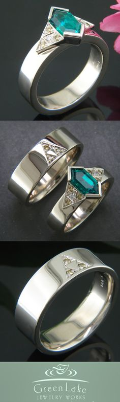 Custom white gold wedding rings with the tri-force: Hers features a custom 'rupee' cut center #emerald. #GreenLakeJewelry