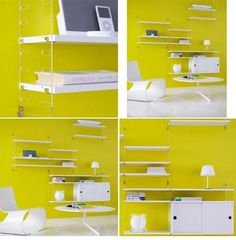 Yellow wall, white string shelf system. Love the cabinets.