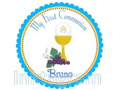 First Communion label Round Favor Sticker  Girl Favor por inktagram