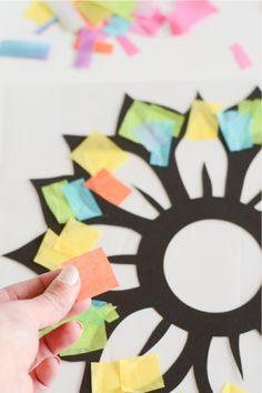 Paper Flower Art, Tissue Paper Crafts, Tissue Paper Flowers, Paper Crafts For Kids, Craft Activities For Kids, Felt Crafts, Stained Glass Flowers, Stained Glass Crafts, Butterfly Crafts