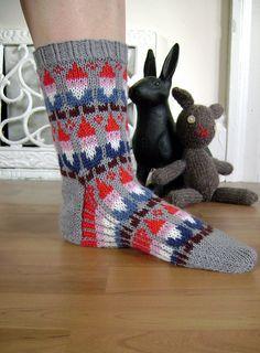 hand knit gnome socks