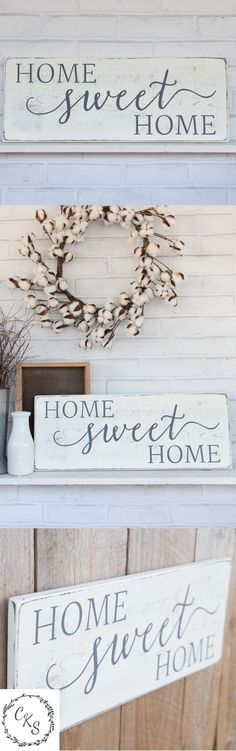 home sweet home sign rustic wood sign white wall decor