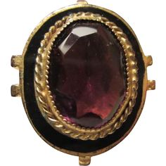 Huge Amethyst Glass Enamel Brass Adjustable Civil War Era Revival Vintage Ring www.rubylane.com #vintage #vintagejewelry #civilwarera #amethystglass #glassring #revivalvintage #giftideas #collectible #valentinesday