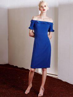 AdoreWe - milanoo.com Blue Bodycon Dress Off-the-shoulder Ruffle Zipper Vintage Dress For Women - AdoreWe.com