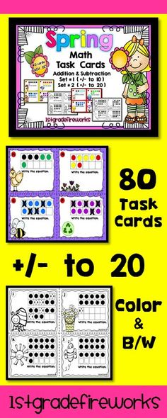 80 Math Task Cards. Addition & Subtraction to 20. Answer key and student printables provided. Addition and Subtraction Task Cards. SPRING themed..flowers, eggs, Easter, butterflies Two sets of Task Cards ( 40 Task Cards each SET ) Available in COLOR and B/W Set # 1 ...addition and subtraction to 10 Set # 2 ... addition and subtraction to 20 Task Cards, Student Answer Sheet, Teacher Answer KEY provided. https://www.teacherspayteachers.com/Product/Spring-Math-Task-Cards-to-20-3075773