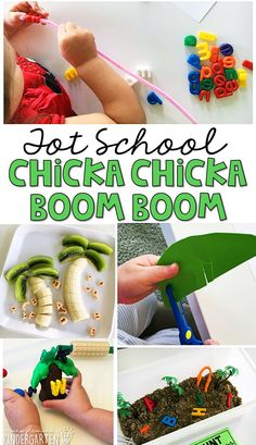 Tons of Chicka Chicka Boom Boom letter themed activities and ideas. Weekly plan includes books, fine motor, gross motor, sensory bins, snacks and more! Perfect for fall in tot school, preschool, or kindergarten