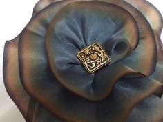 Excited to share the latest addition to my #etsy shop: Gold Silk Flower Brooch, Silk Magnetic Scarf Pin, Magnetic Brooch, Boho Brooch