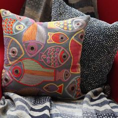 Pavo SF Fish Embroidered Charcoal Cotton Pillow