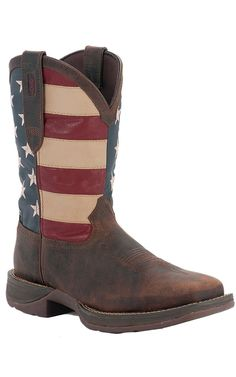 2016be8c Durango Rebel Men's Dark Brown with American Flag Top Square Toe Western  Boots