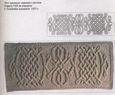 Aran knitting diagram - this ornamental pattern decorates the costume of Henry VIII for a portrait by G. Holbein the Younger. 1537-