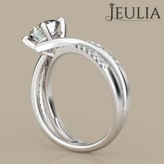 360 View of Jeulia Criss Cross Round Cut Created White Sapphire Engagement Ring