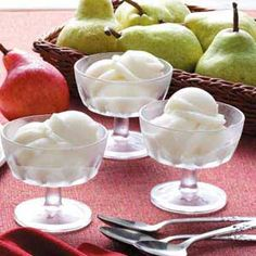 Pear Sorbet:  5 small pears, peeled and sliced, 3/4 cup sweet white wine OR apple juice, 1/3 cup sugar, 4-1/2 teaspoons lemon juice.    *I wonder if ginger ale would be a good substitute for the wine or juice*