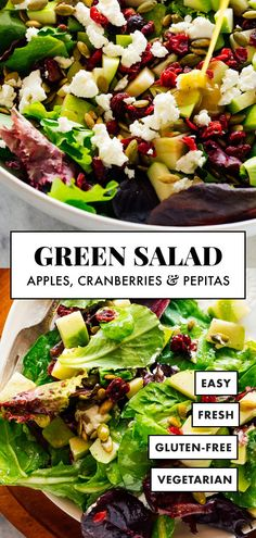 Meet my FAVORITE green salad—it's the perfect fresh side for cold weather meals! This simple and delicious green salad features apple, pepitas (pumpkin seeds), cranberries and goat cheese! #cookieandkate #greensalad #salad #healthyrecipe Granny Smith, Salads Up, Healthy Salads, Healthy Eats, Creamy Pumpkin Soup, Butternut Soup, Vegetarian Recipes, Healthy Recipes, Veggie Recipes