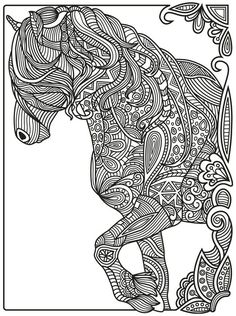 Horse Zentangle | Colorish: coloring book app for adults mandala relax by GoodSoftTech