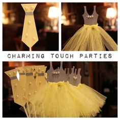Custom yellow and gray Ties and/or Tutus by CharmingTouchParties, $28.00