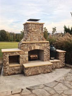 Martin's Outdoor fireplace Outdoor Fireplace Plans, Indoor Outdoor Fireplaces, Fireplace Kits, Outside Fireplace, Outdoor Fireplace Designs, Backyard Fireplace, Backyard Patio Designs, Pergola Designs, Backyard Pergola