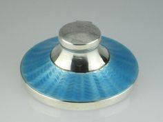 Art Deco Enamel Solid Silver Inkwell 1931 Birmingham. Sold for $155.03