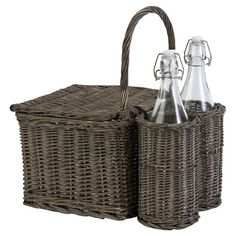 Woven willow picnic basket with two glass bottles in holders.  Product: 1 Picnic basket and 2 bottlesConstruction Ma...